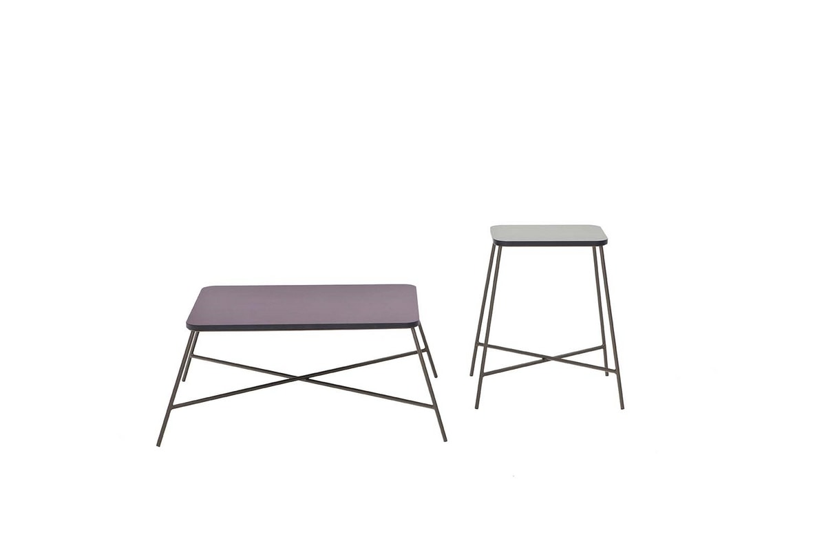 NORMAN, Small tables with metal frame and screen-printed MDF top