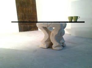 Omini coffee table, Coffee table for home or office, with pillar made of stone