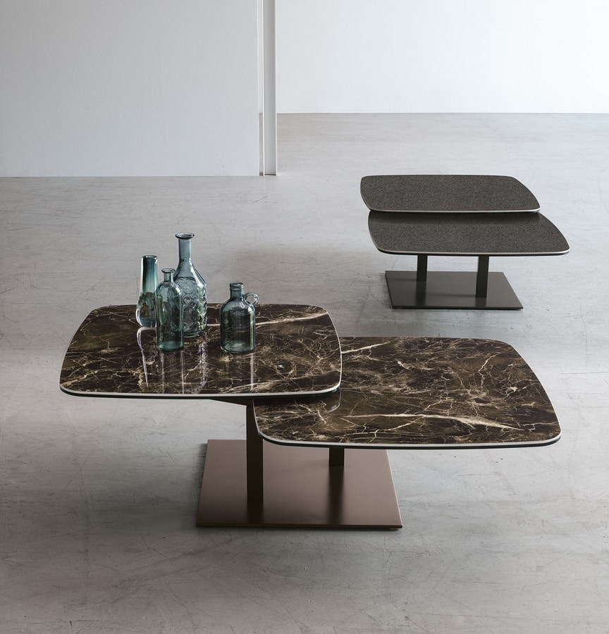 ORBITAL TL511, Coffee table with two rotating tops