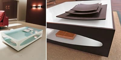OSOWA, Coffee table in tempered glass and perforated wood, for hotel