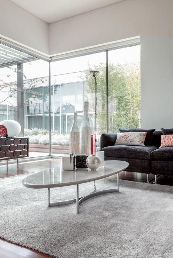 PARIOLI, Coffee table, elliptical marble top, metal base