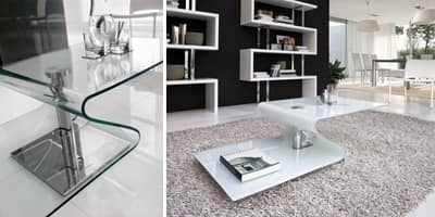 PAVONES, Modern coffee table in curved glass, metal base