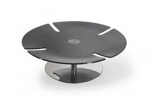 Pegaso, Coffee table with round glass top