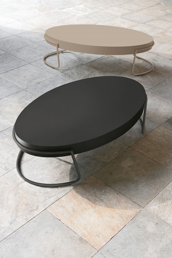 PERSEUS TL138, Oval coffee table in metal and MDF