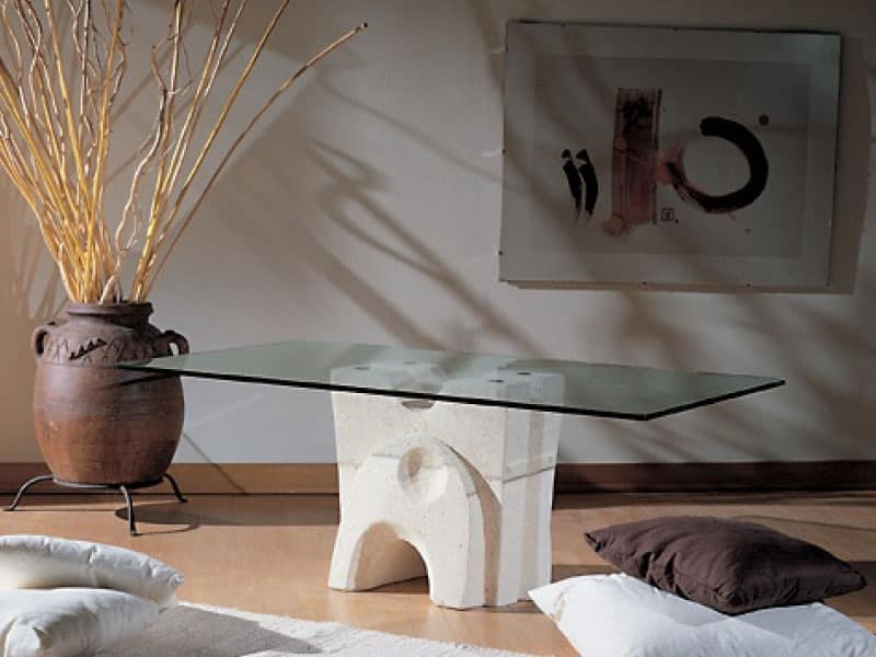 Pesceluna, Coffee table with glass top bound by flanges