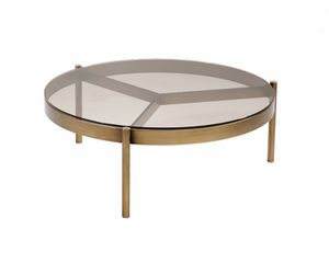 Piccadilly coffee table, Round coffee table, with bronzed glass top