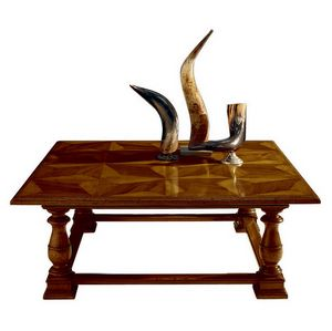 Pratovecchio ME.0887, Walnut coffee table with antique inlaid panels