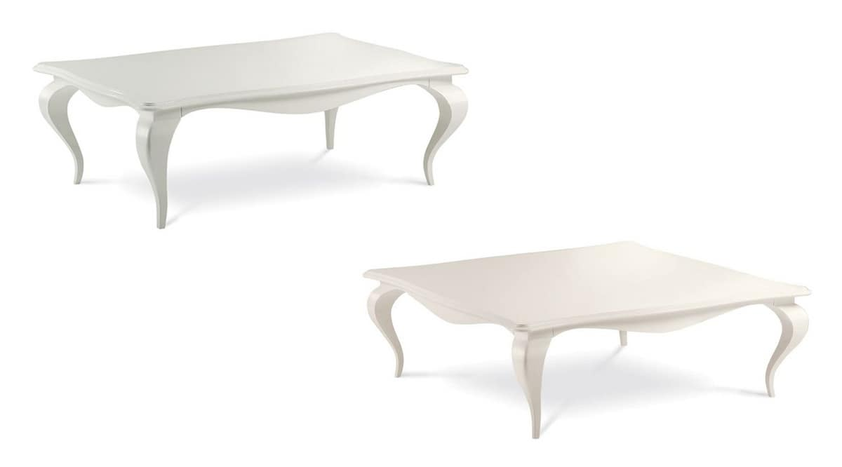 Raffaello coffee table, Coffee table in aluminum and wood, hand-decorated