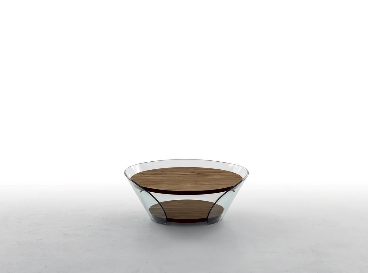 RAFFAELLO, Curved glass coffee table and wood-covered shelves