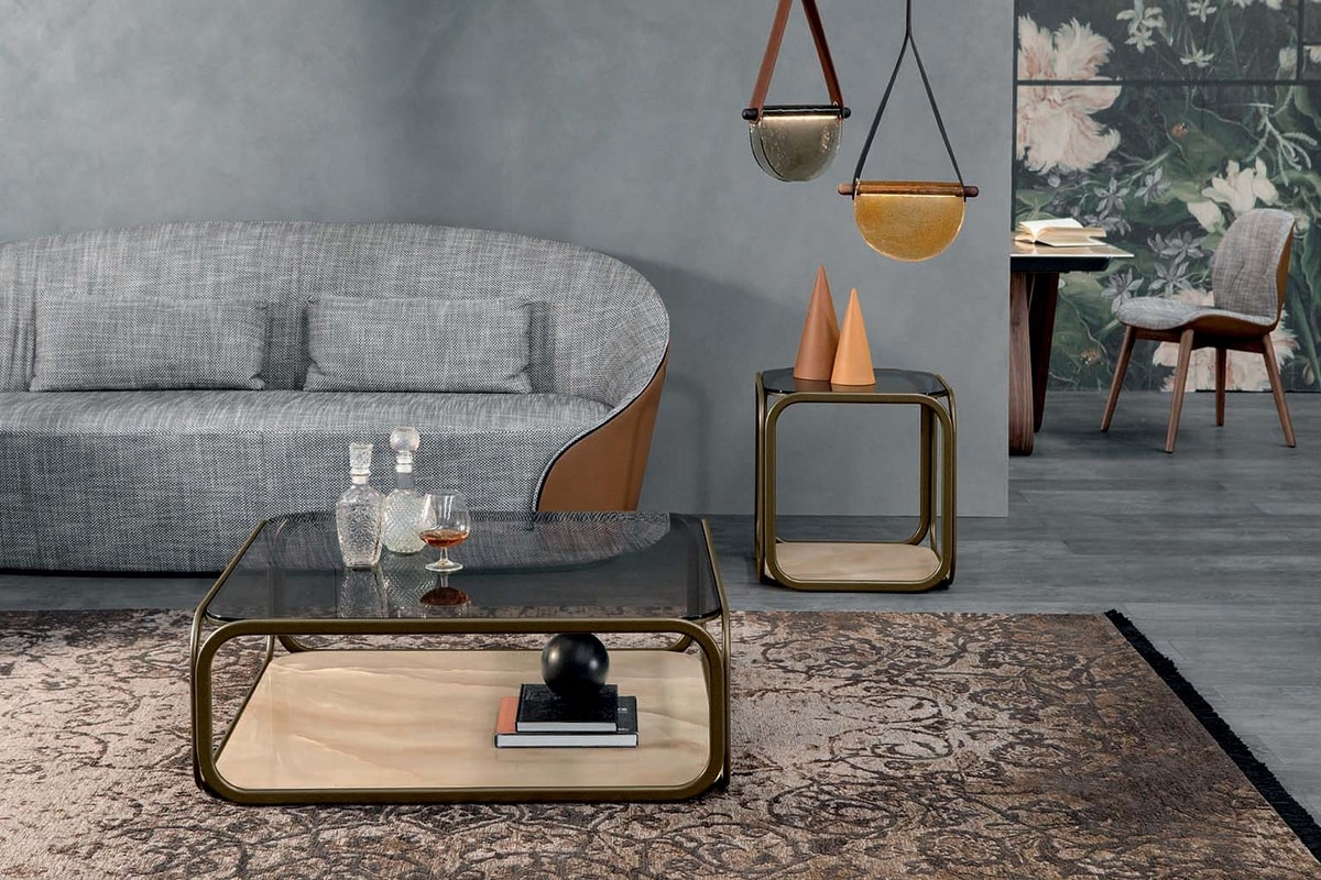 REMIND, Small tables with metal frame, glass top and porcelain stoneware base
