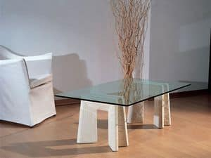 Riflesso, Table with base in stone for home and office