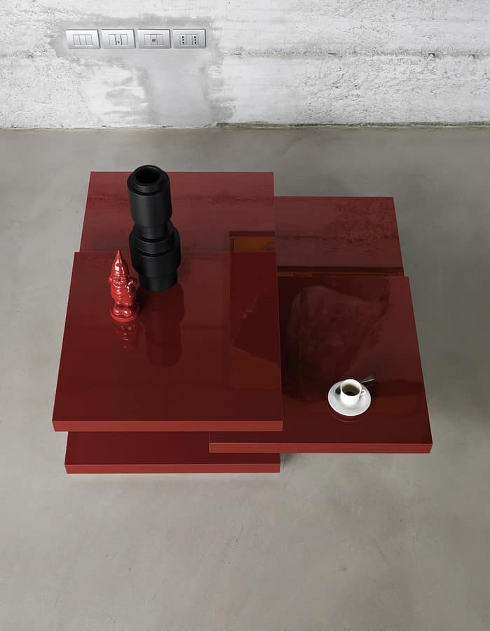 Rotor, Table with 3 rotating tops, for design living rooms