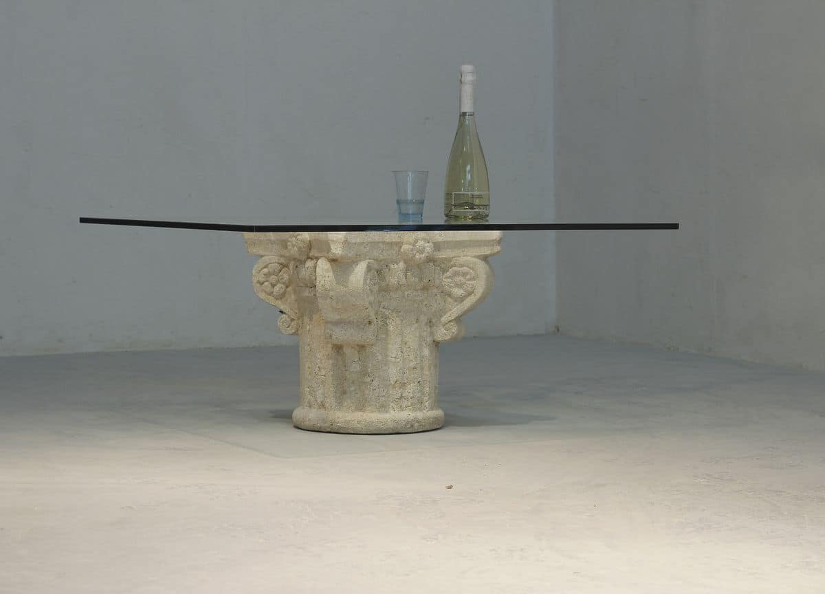 San Giorgio, Coffee table with glass top, stone base decorated by hand