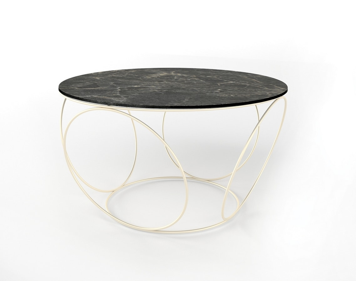Sfera, Coffee table with iron base, round top