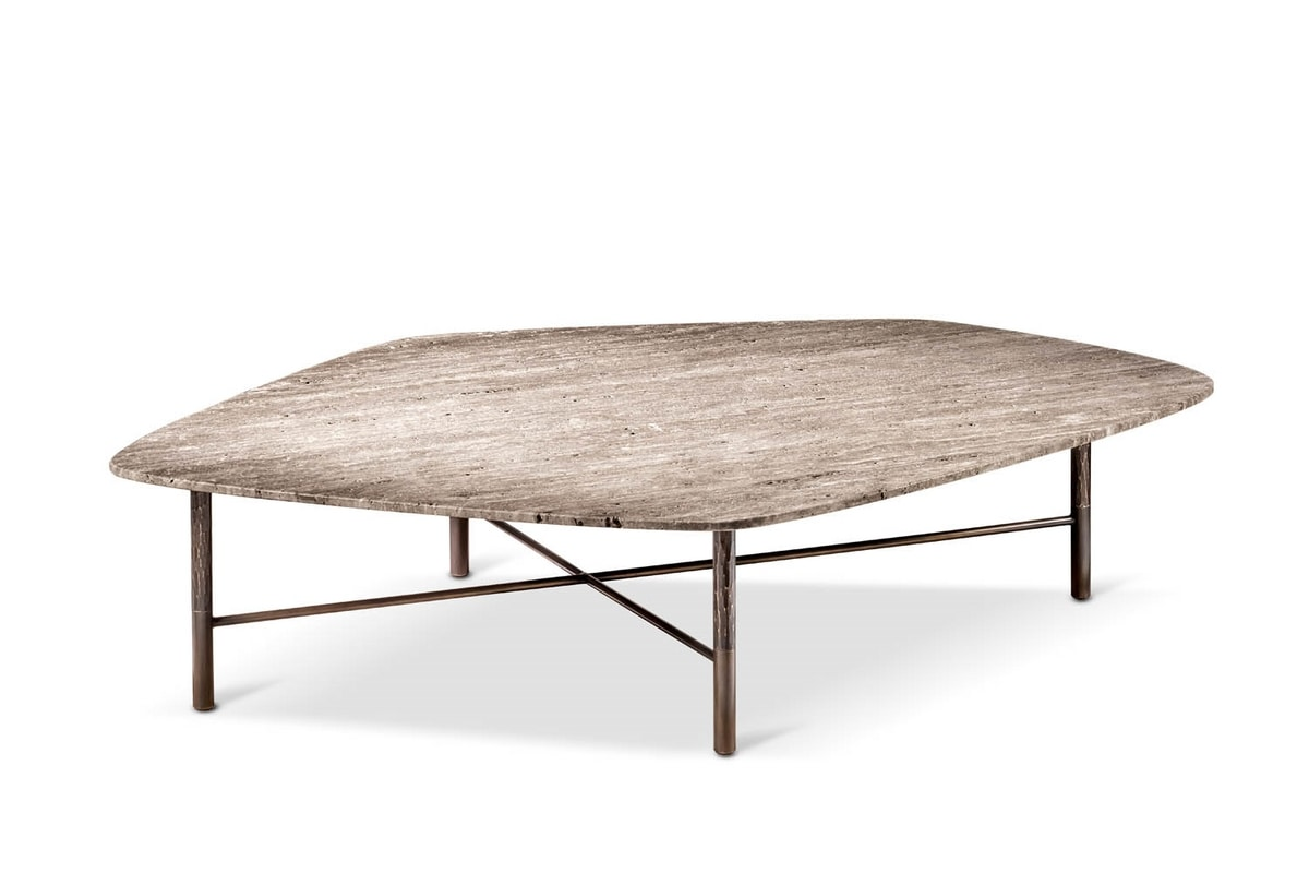 Shangai coffee table, Coffee table with forged iron base