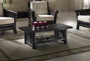 Small table Osaka black, Ethnic coffee table with magazine rack