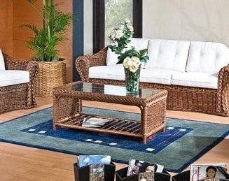 Small table Peony, Ethnic coffee table with magazine rack
