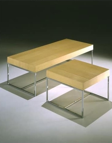 Square coffee table - bench, Coffee table with tubular base, for reception