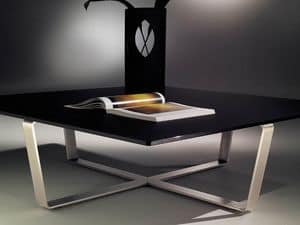 Sushi low table 2, Square coffee table with steel base in shape of cross