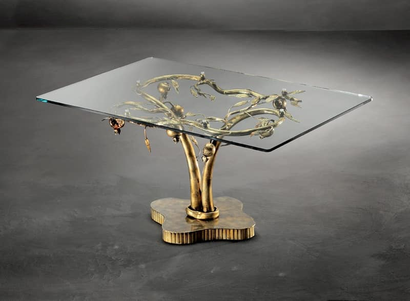 TA/200, Contemporary coffee table with metal base and glass top