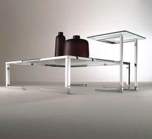 Tempura, Coffee table for modern living room, in chromed steel and glass