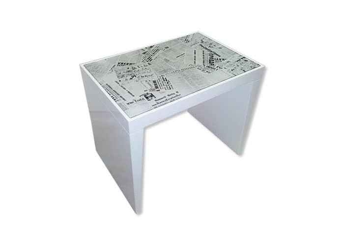 Time, Laminate table with print newspapers glass top