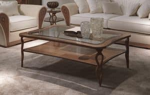 TL56 Charme tavolino, Rectangular coffee table, in inlaid wood, with shelf