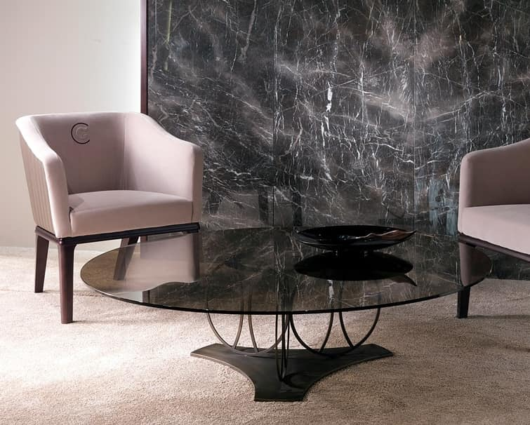 TL59B Moon small table, Coffee table with bronze glass top