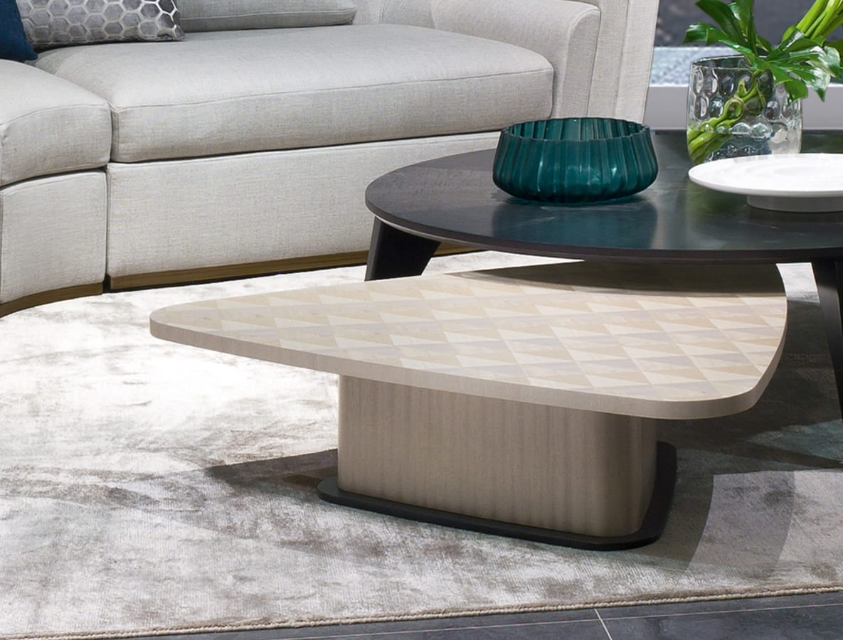 TL62 Corner small table, Wooden coffee table, trapezoidal shape