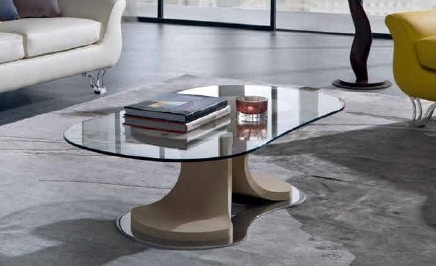 TL66 Mistral small table, Coffee table with tapered shape, glass top