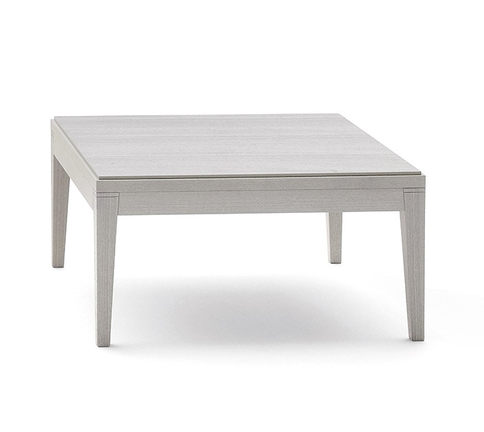 Toffee 808, Square coffee table in solid beech, beech veneer top, for waiting rooms