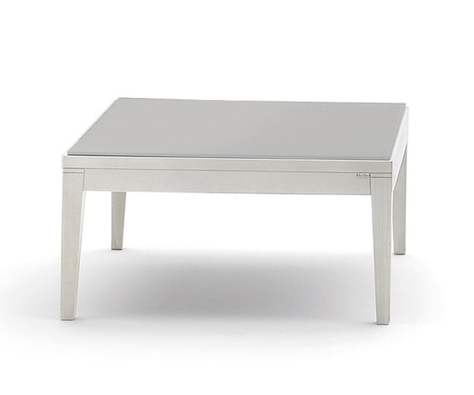 Toffee 812, Square low table with structure in solid beech, lacquered glass tempered glass, for modern environments