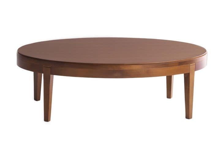 Toffee 882, Oval coffee table with structure in solid beech, beech veneer top, for environments in modern style