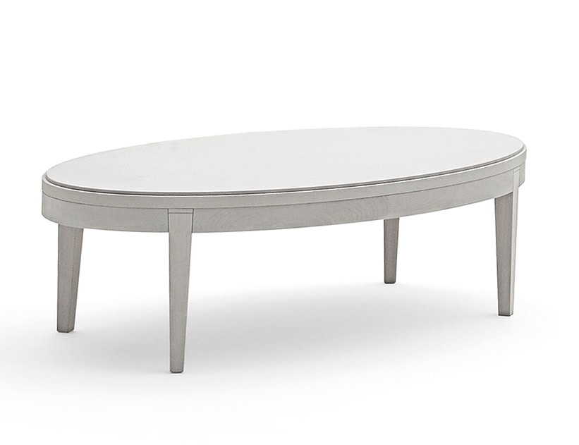 Toffee 885, Oval coffee table with solid beechwood frame, top in tempered lacquered glass