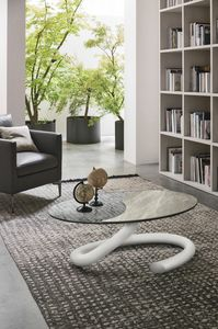TUBE OVAL TL402, Oval coffee tables with glass top
