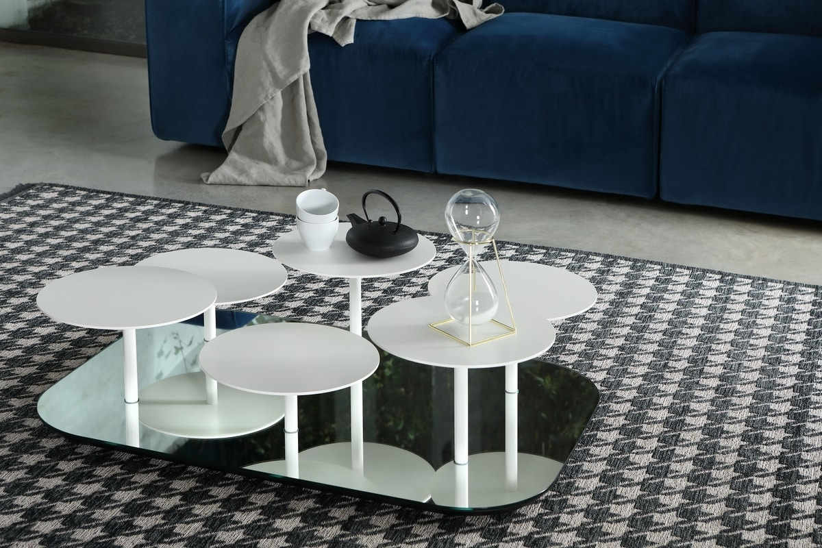 VALENTINE, Coffee table with mirror base and metal tops