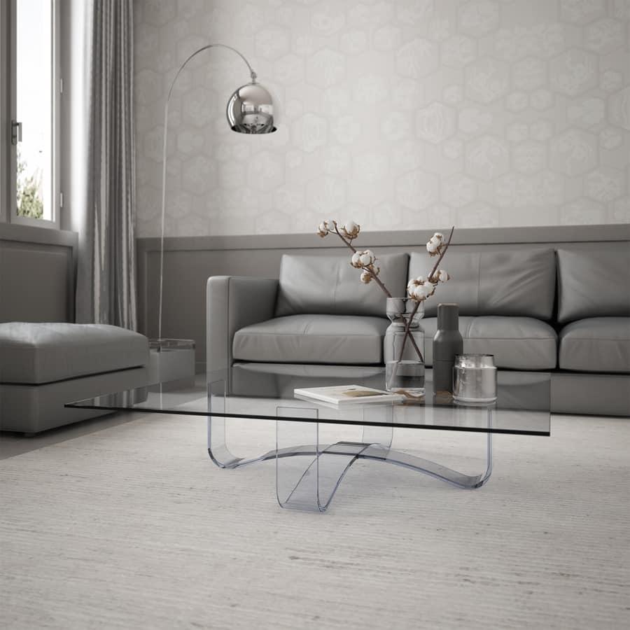 Velar 64 square, Square coffee table in glass