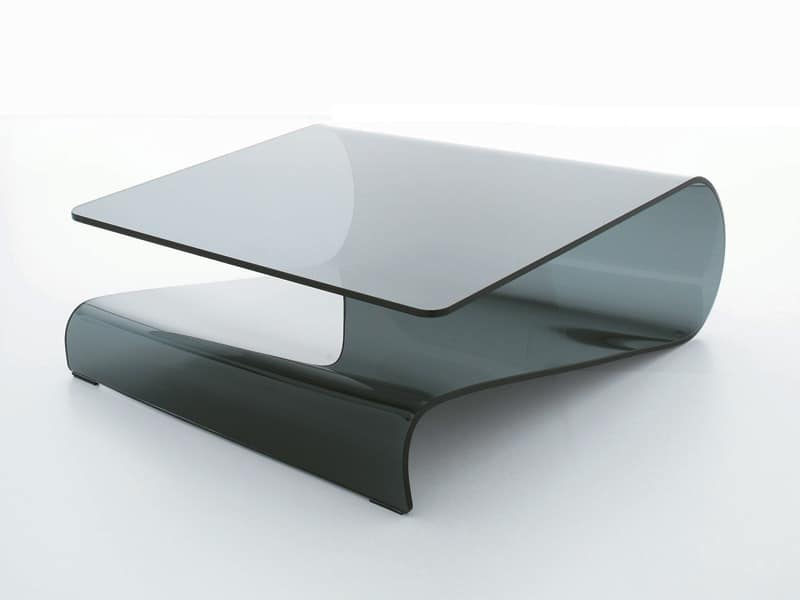 VELO, Coffee table in curved glass, for living room or reception