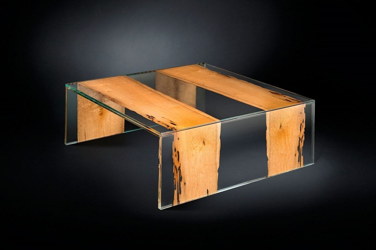 Venezia Small, Square coffee table, in wood and glass