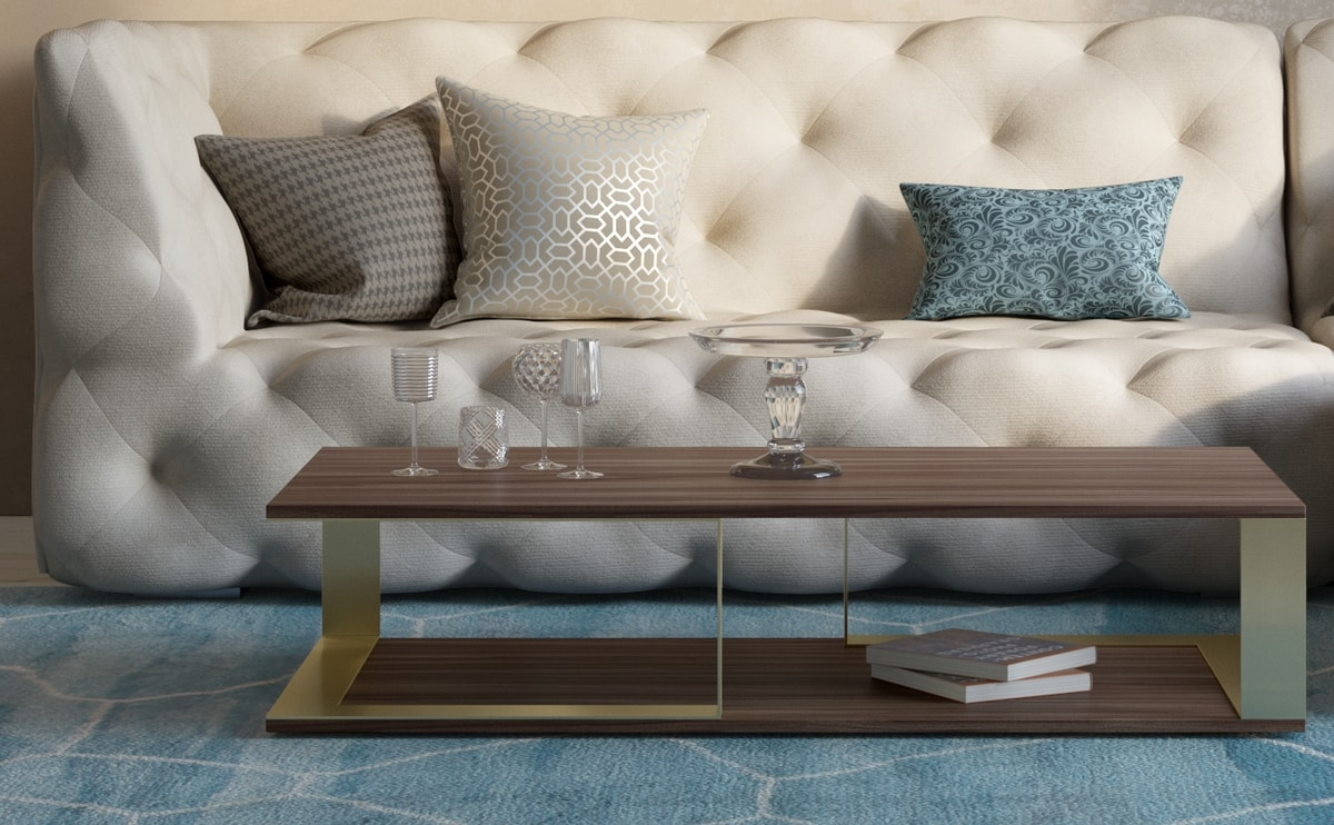 Vesta, Coffee table in wood and metal, with minimal design