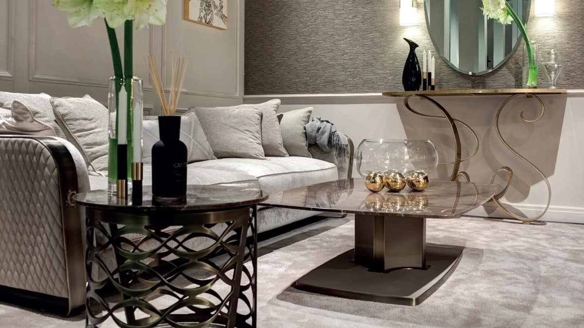 Voyage coffee table, Coffee table with marble top