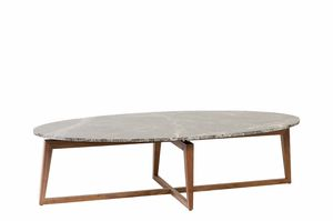 Zen coffee table, Walnut coffee table with marble top