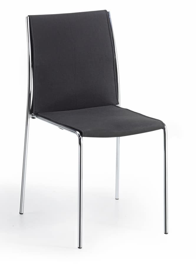 Breda, Stackable chair, with tubular structure, for conference