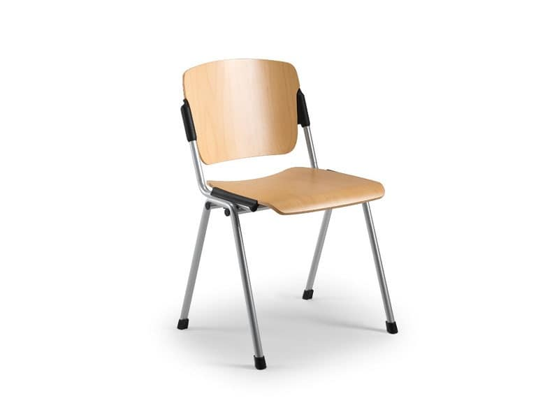 Cortina 6600LE, Chair with seat and backrest in beech plywood