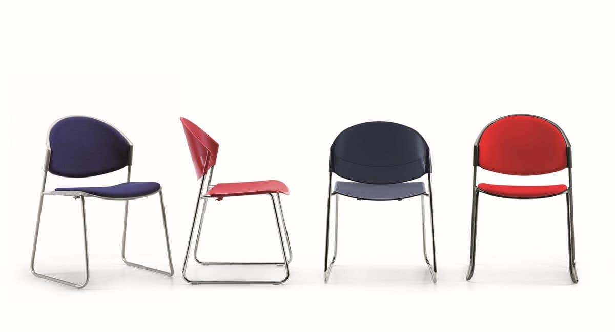 DELFI 080, Chair with sled base in metal, seat in polymer