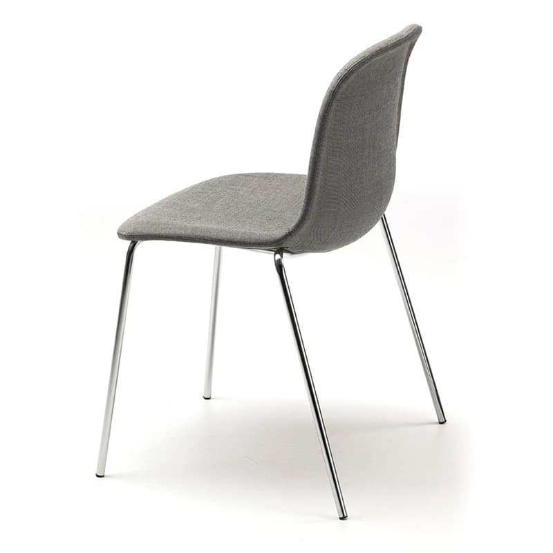 Máni 4L, Stackable chair in chromed steel and polypropylene