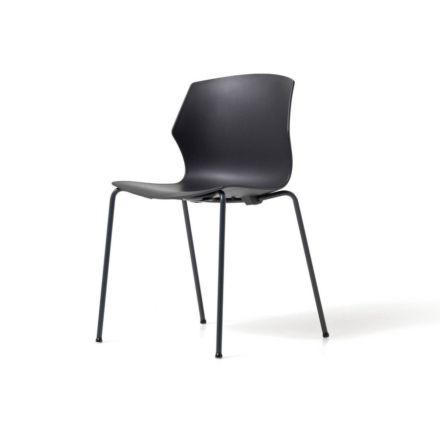 No Frill 4 legs, Stackable chair, with polypropylene shell, eye-catching design