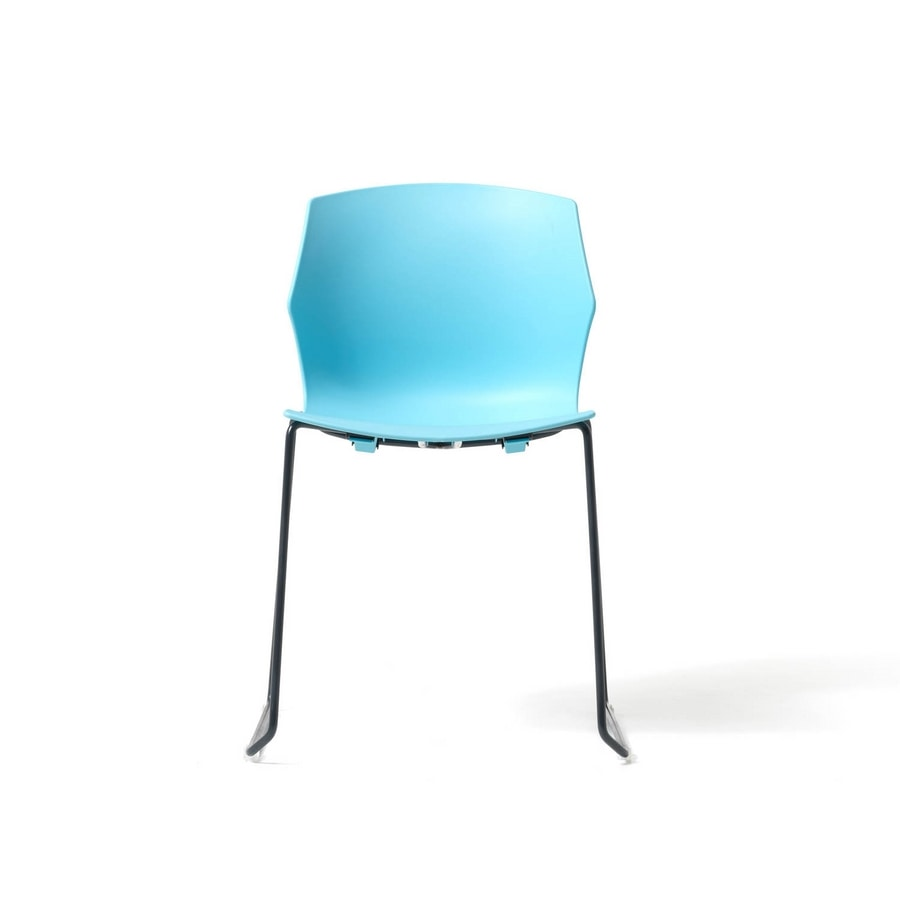No Frill sled base, Chair for conference room, with sled base, stackable