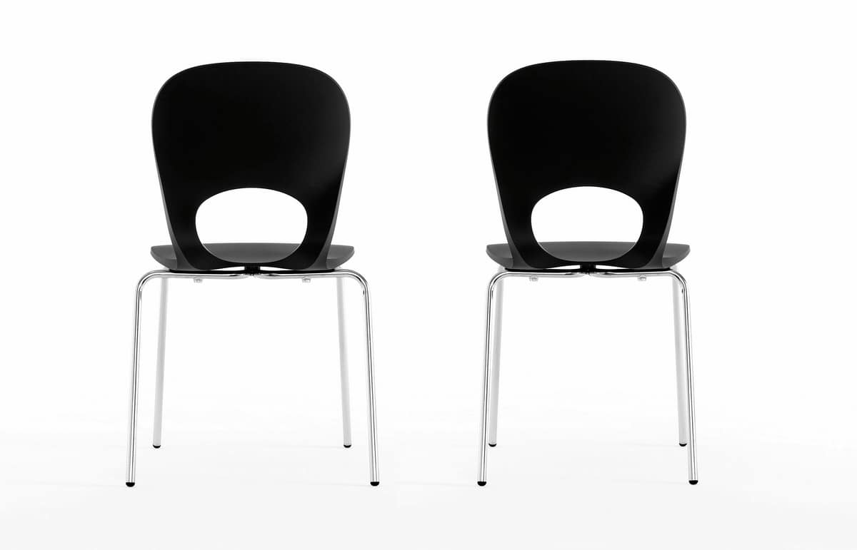 Pikaia Four Legs, Chair with metal base and circular hole on the backrest