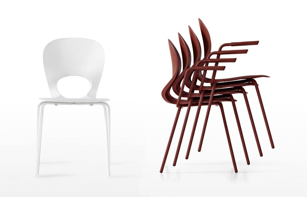 Pikaia Four Legs with armrests, Chair with perforated backrest and writing tablet